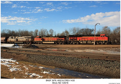 BNSF 3978, 4932 & CREX 1435 (Robert W. Thomson) Tags: bnsf burlingtonnorthernsantafe crex citirail ge diesel locomotive sixaxle gevo et44 et44cr es44 es44ac dash9 c449 c449w dash944cw tier4 train trains railroad railway trainengine minot northdakota
