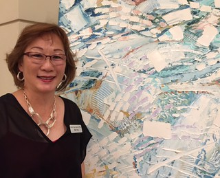 Artist Mai Yap at her opening at the Lilia Garcia Gallery in the Sonesta Hotel Coconut Grove