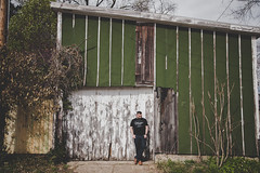 Week13 - Photographer's Choice (myswansong11) Tags: blessed louisville green rugged paint chip old building architecture man garage abandoned project 52 photography choice christy dawn