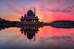 Prayer (zollatiff) Tags: city longexposure morning travel pink blue light sunset red sky sun lake reflection nature water colors architecture clouds s
