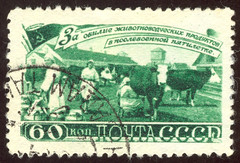 Russia 1202 m (roook76) Tags: old woman animal vintage cow ancient village message cattle mail russia farm postoffice retro stamp card envelope letter postal aged russian herd milkmaid address postage sovietunion ussr postmark philately philatelic