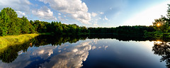Lake Panorama (Sky Noir) Tags: sunset summer sky panorama lake nature clouds reflections virginia day open sundown pano wide va powhatan glassywater skynoir