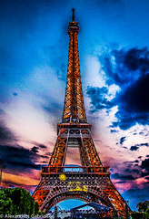 Eiffel tower during a summer night