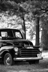 a shady spot to rest (lynn.h.armstrong) Tags: old trees light summer bw sun white ontario canada black art reunion monochrome truck photography fairgrounds photo aperture nikon long flickr photographer shadows wordpress south july blogger images grill lynn livejournal h williamstown cameron shade getty armstrong gmc stormont facebook sault ingleside twitter macdonell tumblr d7000 lynnharmstrong pinterest