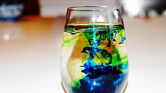Colour Swirls (isaacbetteridge) Tags: blue red stilllife color colour green water glass table photography photo cool interesting different flash swirls home2