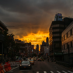 Brooklynhenge... (Guillermo Murcia) Tags: sunset summer newyork brooklyn clouds dawn golden twilight downtown dusk gonewiththewind flickrfriday guillermomurcia