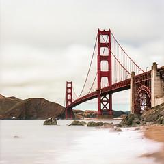 Golden Gate Bridge, San Francisco, CA. (WestonKruse) Tags: ocean california ca sea bw seascape 120 film beach water 30 analog austin mediumformat agua san francisco pacific kodak tx tripod h2o cm hasselblad negative filter cal 400 nd mf 500 portra developed negatives f4 weston 120mm 500cm kruse cfe hassy filmisnotdead buyfilmnotmegapixels