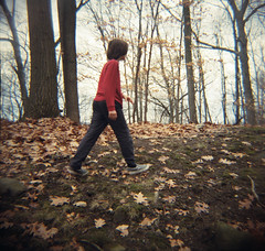 the hiker (lawatt) Tags: 120 film cemetery woods hiking diana f wiley portra