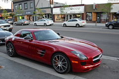Mercedes-Benz SLS AMG (SupercarLust) Tags: red britishcolumbia kelowna supercar bernardavenue mercedesbenzslsamg