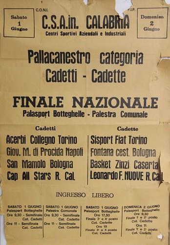 Manifesto Collegno Basket alle finali nazionali Cadetti, Reggio Calabria