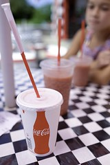 coca-cola and strawberry smoothes at the beach (autobonz) Tags: beach three strawberry capecod coke fujifilm cocacola checkeredtablecloth xt1 smoothes xf23mmf14