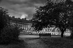 royal crescent bench (Daz Smith) Tags: street city bw white black silhouette architecture bench bath view seat royal crescent georgian bemnch roaylcrescent