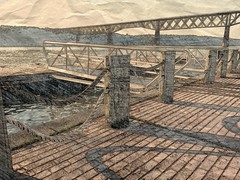 Dock at the Ice House (ftoomschb) Tags: railroad bridge river phone creative samsung note poughkeepsie galaxy walkway valley hudson paperartist