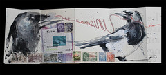Until the color of the universe is true…... (Jennifer Kraska) Tags: bird art moleskine birds sketch jennifer magpie kraska moleskineexchange jenniferkraska molyx3