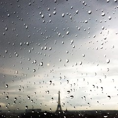 Tour Eiffel Rain Drops (simonbahr) Tags: city white black paris france window rain clouds drops view toureiffel raindrops