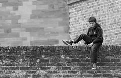 The boy on the wall (kevaruka) Tags: uk greatbritain family autumn portrait england bw canon blackwhite flickr unitedkingdom son 5d frontpage rufford nottinghamshire ruffordhall canon5dmk3 5dmk3 5d3 5diii thephotographyblog canon70200f28ismk2 canoneos5dmk3 september2014