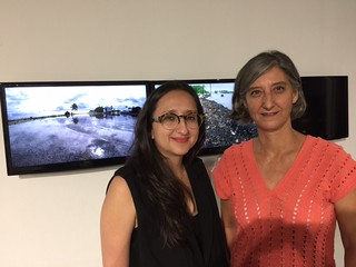 ArtCenter South Florida artistic director Natalia Zuluaga with executive director Maria del Valle at the ACSF resident artists open house.