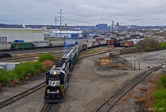 """Westbound Transfer in North Kansas City, MO (""""Righteous"""" Grant G.) Tags: ns norfolk southern railway railroad locomotive train trains west westbound emd power high hood nose admiral cab low transfer freight yard job north kansas city missouri"""