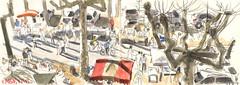 170326 Rabastens Vide-grenier (Vincent Desplanche) Tags: sketchbook urbansketchers rabastens tarn sketch seawhiteofbrighton carandache neocolor watercolor aquarelle croquis