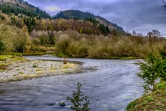 Merging (GarethBell) Tags: betws betwsycoed wales north northwales conwy canon 6d canon6d hdr 35mm water flowing river rivers fork merge trees forest flow outdoors outside clouds sky hills