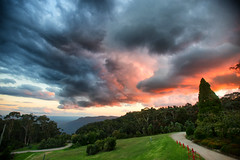 Stormy sunset over the Blue Mountains (Pat Charles) Tags: leura bluemountains sunset dusk storm clouds stormy mood billowing golf course evening outside outdoor nikon sydney australia travel tourism grass dark moody