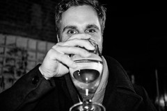 Tim (Gary Kinsman) Tags: fujix100t fujifilmx100t london canonbury n1 islington 2017 thealma pub bar flash highiso bw blackwhite candid unposed drink cider eyecontact seen visible eyes newingtongreenroad night evening people person