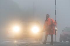 Setting up the crossing (Ian@NZFlickr) Tags: school crossing highgate dunedin fog autumn otago nz