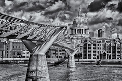 The new across to the old (David Feuerhelm) Tags: blackandwhite bw nikkor contrast river riverthames buildings city cityscape bridge milleniumbridge cathedral dome church stpauls london england sky clouds silverefex nikon d7100