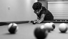 4 (relishedmonkey) Tags: nikon d5300 billiards man player balls black white monochrome lighting inside court stick snooker game 35mm 18g 4
