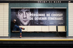 No one choses to become itinerant / Underground street photo (Jacques Lebleu) Tags: itinérance sdf streetperson métro subway underground champdemars montréal sociétal message communication