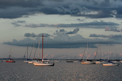 Marina on a Cloudy Day (hpaich) Tags: sky cloud water weather sailboat marina evening bay boat newjersey twilight marine skies nuvola dusk nj maritime cielo nautical nuvem nube wolk raritan raritanbay pilv