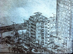 a day at work (MATE Guerrero) Tags: new city blue people building cars lines pencil traffic drawing details master age land draw effect