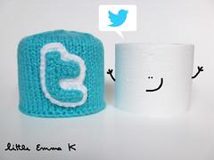 Mr Twitter- Cover Mr Toilet Paper (Little Emma K) Tags: blue k paper little emma toilet round roll connected knitted handknitted twitter