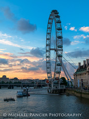 The London Eye at Sunset (Michael Pancier Photography) Tags: greatbritain travel england london thames unitedkingdom londoneye gb riverthames thamesriver westminsterbridge travelphotography commercialphotography naturephotographer michaelpancierphotography landscapephotographer fineartphotographer michaelapancier wwwmichaelpancierphotographycom summer2014