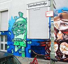 Cool Can & Caro Pepe (AgeAge) Tags: blue red berlin face wall project kreuzberg shoe graffiti eyes colours painted heads styles colourful grab 36 wallpainting aa spraycan caropepe 2014 crackhead bluebackground characterdesign charakter streetstyle berlinkreuzberg steelisreal tentakel stylewriting ageage wrangelstrase wrangekiez krzbbrg