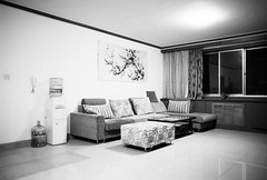 (JC.Murphy) Tags: china door bw white black cold home zeiss table living hall fridge chair apartment flat kodak bare empty room 28mm trix indoor sofa xian bland bleak dining lonely accommodation ikon banal shaanxi expat foreigner