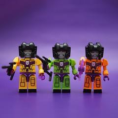 The 3 Colors of Devastation (Quelynn) Tags: toys robots transformers devastator minifigures kreo kreon