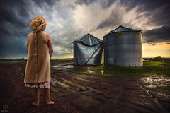 Surveying the Tornado's damage ({jessica drossin}) Tags: road portrait storm girl clouds photography alone child mud little young vivid silo textures disaster barefoot damage tornado wreckage matte actions tints jessicadrossin drossin wwwjessicadrossincom jdbeautifulworldcollection