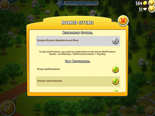 Hay Day Settings: screenshots, UI