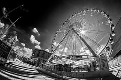 Infrared Wheel (18mm & Other Stuff) Tags: uk england sun wheel liverpool canon big focus raw shot natural fisheye using filter gb ferriswheel manual 8mm the 600d samyang i