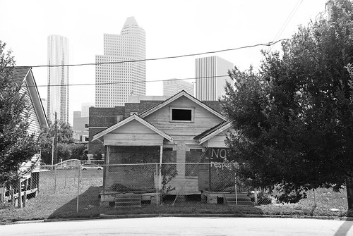 Vanishing Freedmen's Town, Houston, Texas: formerly Jim Crow housing.  But of course, residential segregation still exists, both in the South and elsewhere.