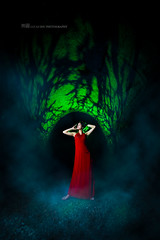 Trapped bird (Lucas Shu) Tags: light red wild portrait woman sexy girl canon women dress witch smoke evil lucas lovely shu blaster