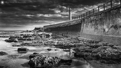 Light Tower II, Seaburn (Silent Eagle  Photography) Tags: light sea bw seascape reflection tower wall clouds canon silver rocks sep sunderland seaburn silenteaglephotography silenteagle09 mg9418bw