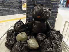Trashbear (Nicote) Tags: from bear sea art station japan bronze trash way underground subway japanese idea tokyo is stuffed construction artist sailing metro south korea fahrenheit plastic made hidden 451 cast be reality column but yokohama triennale bags behind exit chubby minato oblivion mirai intersting seems 2014 bearlike gimhongsok bearlikeconstruction