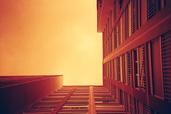 Up (romain@pola620) Tags: windows red sky orange paris building film geometric up analog vanishingpoint lomo lca lomography geometry perspective 100 analogue vanishing immeuble argentique 100iso pellicule centralperspective analogique