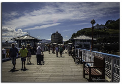 A WALK ON THE PIER (vicki127.) Tags: camera people love club clouds digital photoshop bench pier flickr pics 4 award bluesky adobe llandudno grandhotel lightroom cs6 vickiburrows vicki127 cannon650d