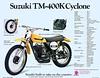 1973 SUZUKI TM-400K CYCLONE SALES SPECS
