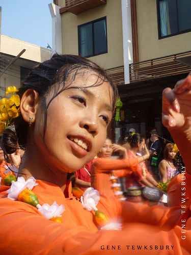 A girl dances at Song Kran Festival