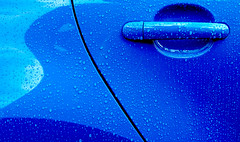 Blue (only lines) Tags: door blue rain vw handle polo