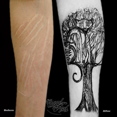 Scar cover with cat on tree tattoo (Miguel Angel tattoo) Tags: new flowers roses music black flower colour detail macro tree london art nature floral girl face lines miguel rose tattoo illustration angel night dark dead religious death grey design michael photos d feminine decorative traditional gothic fine feather style icon oldschool richmond tattoos musical ornament fantasy cover angels knight swirls freehand organic custom ornamental miguelangel archangel realism maik intricate coverup newschool photorealism religius ornamentic blackandgreytattoo miguelangeltattoo latinangelstudio richmonndhill